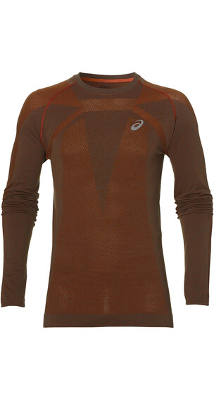 asics Seamless - Camiseta manga larga running Hombre - naranja/rojo